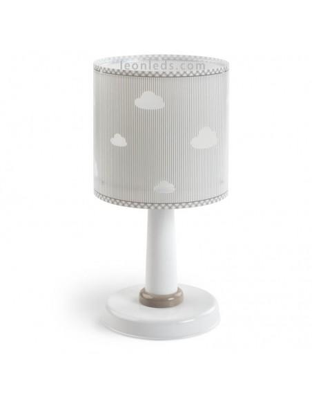 Lámpara Infantil de sobremesa Infantil con nubes serie Sweet Dreams de Dalber Blanca Gris 62011E   LeonLeds