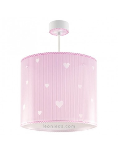 Lámpara de Techo Infantil Rosa y Blanca con corazones Redonda Sweet Dreams Dalber 62012S | LeonLeds