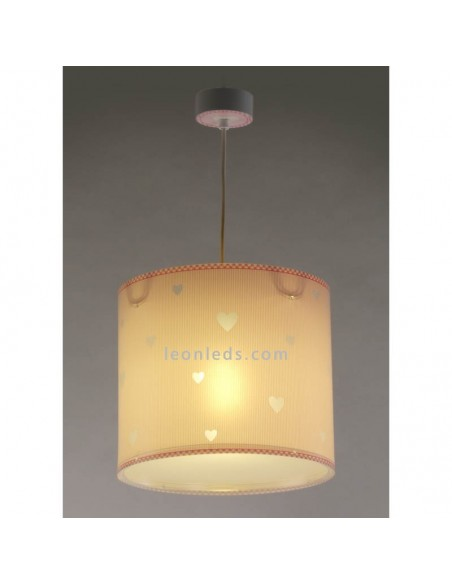 Lámpara de Techo Infantil Rosa y Blanca con corazones Redonda Sweet Dreams Rosa Corazones Dalber 62012S | LeonLeds