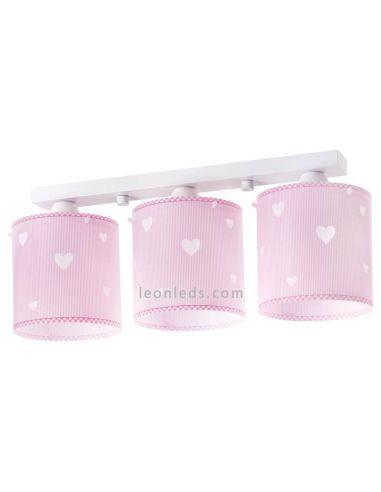 Lámpara Infantil 3 Luces de techo para bebe Rosa y blanca Sweet Dreams Dalber 61903   LeonLeds Iluminación