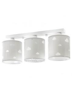 Lámpara Infantil 3 Luces de techo Gris y Blanca con nubes Sweet Dreams Dalber 62013E | LeonLeds Iluminación