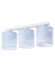 Lámpara 3 Pantallas Techo Infantil Azul con Estrellas Bebe Dalber 62013T | LeonLeds Iluminación Decorativa