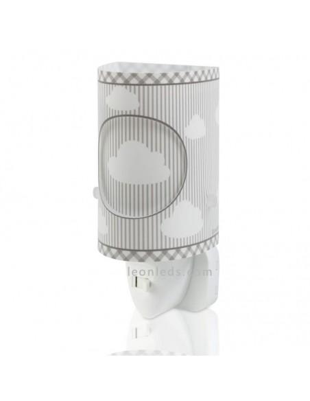 Quitamiedos LED Luz de Noche Infantil para bebe Serie Sweet DreamsGris con nubes 62015E   LeonLeds Infantil