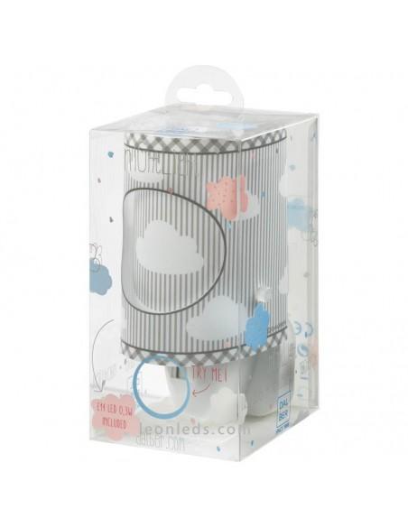Luz Quitamiedos LED Infantil Gris para bebe para enchufe   LeonLeds Iluminación Infantil LED
