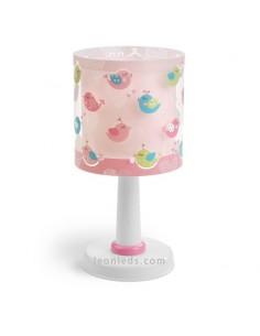 Lámpara de Sobremesa redonda con Pajaros de colores Fondo Rosa Dalber Birds 60291 | LeonLeds Iluminación