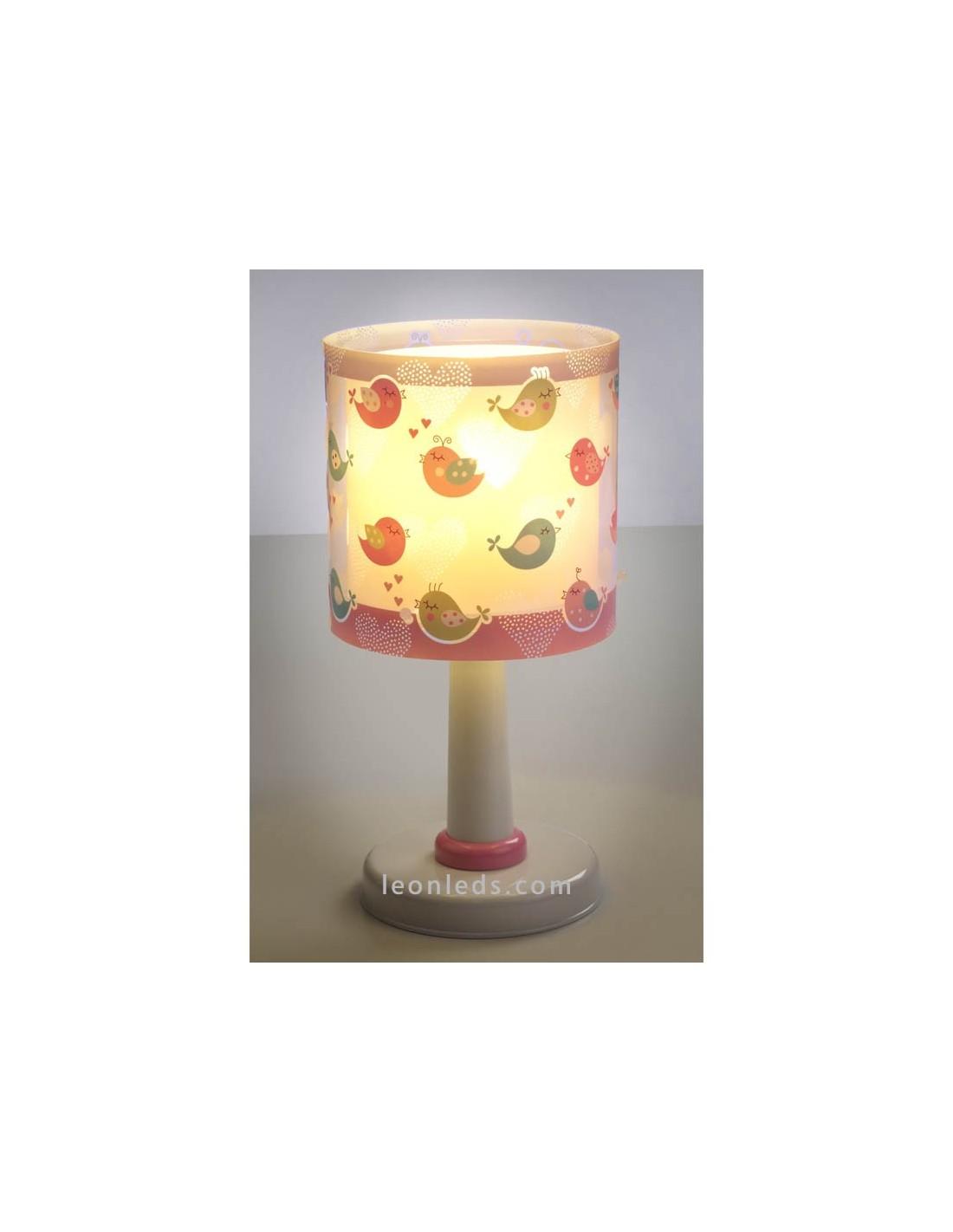 L mpara de sobremesa infantil birds 60291 rosa dalber for Lampara sobremesa infantil