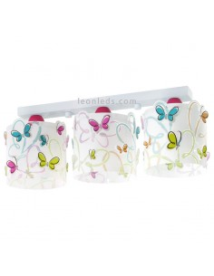 Lámpara infantil de Techo 3 Luces con mariposas Serie Butterfly - Lámpara 3 pantallas original mariposas | LeonLeds Iluminació