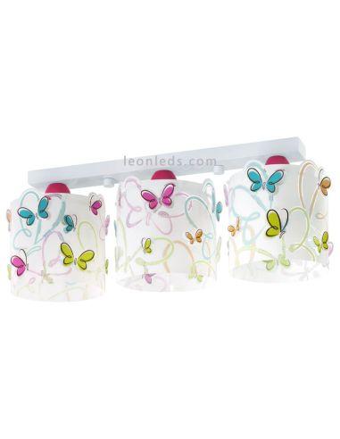 Lámpara infantil de Techo 3 Luces con mariposas Serie Butterfly - Lámpara 3 pantallas original mariposas   LeonLeds Iluminació