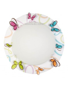 Plafón Infantil Redondo Mariposas de colores Serie Butterfly 62146 Dalber   LeonLeds Iluminación infantil