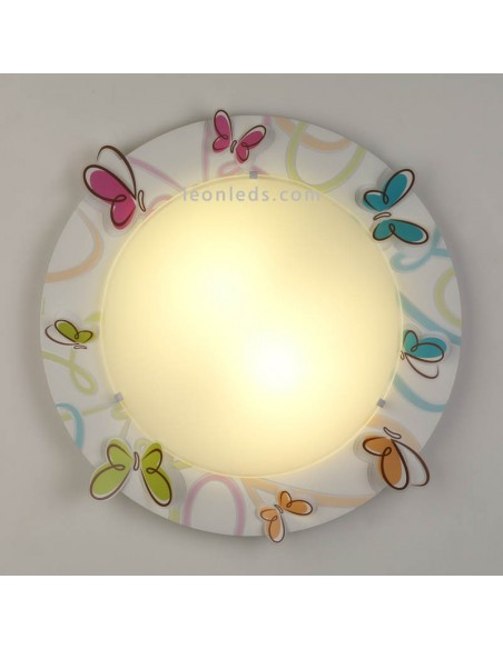 Plafón Infantil Redondo Mariposas de colores Serie Butterfly 62146 Dalber | LeonLeds Iluminación infantil