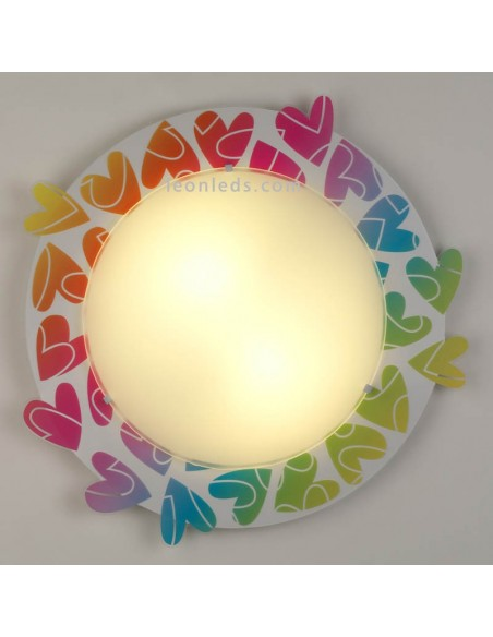 Plafón Infantil Juvenil Cuore Dalber con Corazones de colores de techo 41186   LeonLeds Iluminación