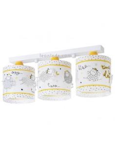 Lámpara de Techo 3 Pantallas Amarillo Blanca con Ovejas Serie Time To Sleep 72363 | LeonLeds Iluminación