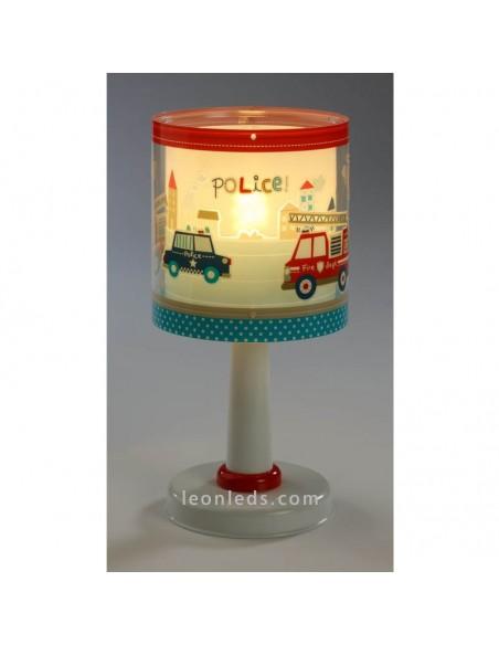 Lámpara de Sobremesa Infantil Serie Police 60611 Dalber Juvenil Brilla en la oscuridad Redonda | LeonLeds