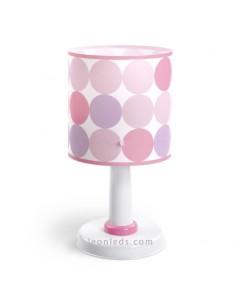 Lámpara Infantil de sobremesa de la serie Colors con circulos rosas y morados de la serie Colors 62001S   LeonLeds