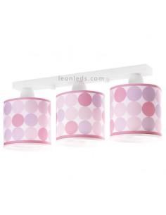 Lámpara infantil de Techo 3 Luces Rosa Serie Colors de Dalber al mejor precio | LeonLeds Iluminación
