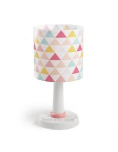 Lámpara Infantil y Juvenil de Sobremesa de la serie Happy con triangulos de colores sobre fondo blanco 72631   LeonLeds