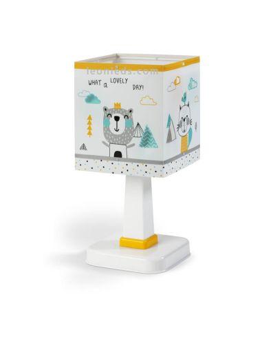 Lámpara de Sobremesa Blanca y amarilla de diseño infantil cuadrada barata Serie Hello Little de dalber | LeonLeds Iluminación