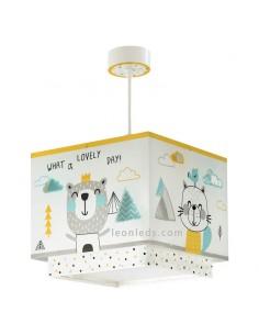 Lámpara de diseño infantil para techo cuadrada blanca y amarilla serie Hello Little | LeonLeds Iluminación