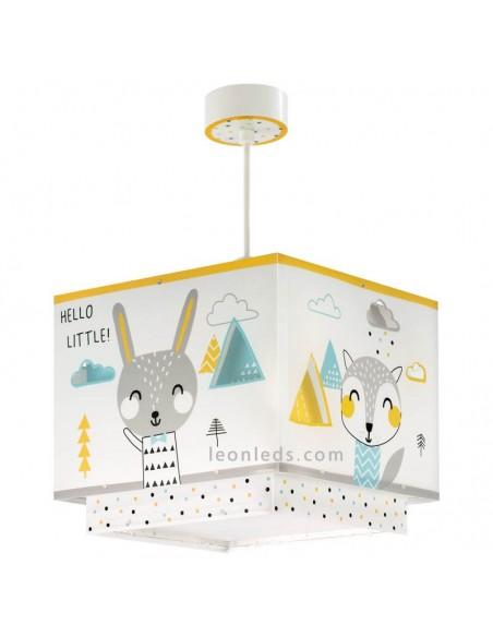 Lámpara de diseño infantil Cuadrada para techo cuadrada blanca y amarilla serie Hello Little | LeonLeds Iluminación