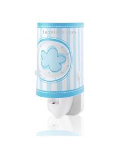 Luz Quitamiedos LED para Enchufe Azul Nubes y Rayas Sweet Light 632232L | LeonLeds Iluminación Infantil