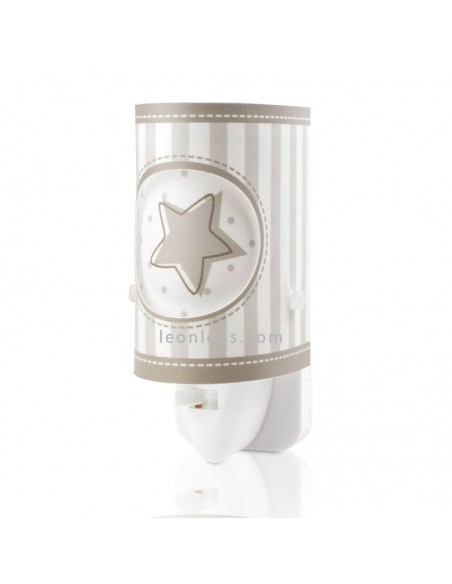 Luz Infantil Quitamiedos LED para enchufe Sweet Light Gris Estrellas y Rayas 63233L   LeonLeds Iluminación
