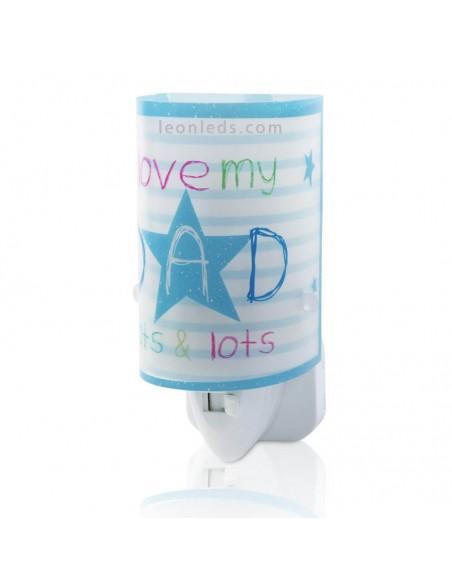 Luz Quitamiedos Infantil LED Mum & Dad Azul sobre fondo | LeonLeds Iluminación Infantil