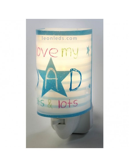 Luz Quitamiedos LED Infantil Mum & Dad Azul sobre fondo blanco | LeonLeds Iluminación Infantil
