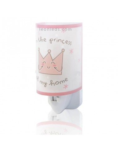Luz Quitamiedos LED infantil para enchufe Rosa Prince & Princess 92831   LeonLeds Iluminación Infantil