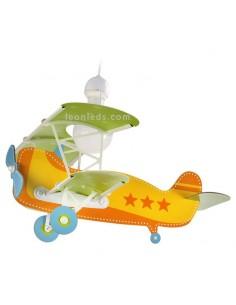 Lámpara Infantil de Techo con forma de Avión de la serie Baby Planes Amarilla y Verde 54012 | LeonLeds Iluminación