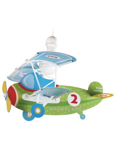Lámpara Infantil Dalber serie Baby Planes 54022 con Forma de Avión Verde y Azul | LeonLeds Iluminación