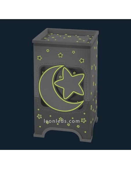 Lampara de Sobremesa Infantil LED Moon Light Gris y Juvenil con estrellas y lunas reflectantes | LeonLeds Iluminación