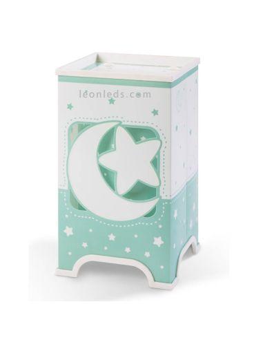 Lámpara de Sobremesa Infantil serie Dalber Verde y Blanca con estrellas y lunas de Dalber Brilla en la oscuridad | LeonLeds Ilum