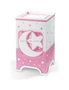 Lámpara de sobremesa Infantil LED Serie Moon Light Rosa y blanca con estrellas y lunas que lucen por la noche | LeonLeds