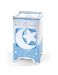 Lámpara de Sobremesa LED Infantil Azul y blanca de Mesita de noche con Estrellas y lunas que brillan en la oscuridad | LeonLeds