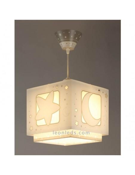 Lampara de techo con diseño Infantil Juvenil de techo Colgante Dalber Moon Light Gris 63232E | LeonLeds Iluminación