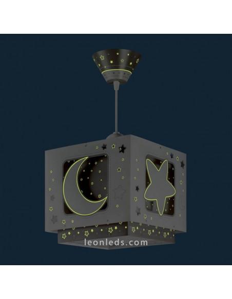 Lámpara de Techo MoonLight que brilla en la oscuridad de Dalber Gris | LeonLeds Iluminación