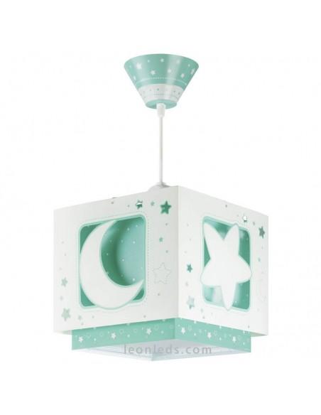 Lámpara de Techo Verde con estrellas y lunas verde sobre fondo blanco cuadrada   LeonLeds Iluminación