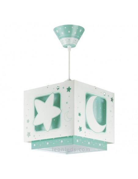Lámpara de Techo estrellas y lunas verde sobre fondo blanco cuadrada   LeonLeds Iluminación