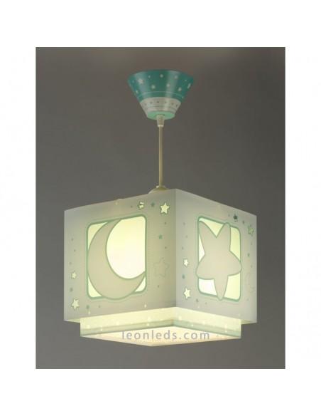 Lámpara de Techo con estrellas y lunas verde sobre fondo blanco cuadrada   LeonLeds Iluminación