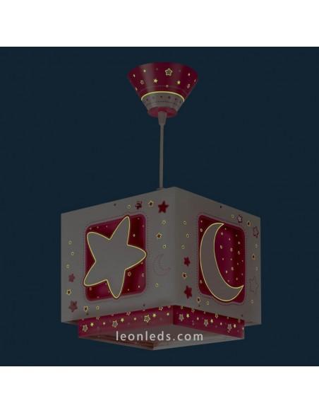 Lampara de Techo Rosa Estrellas Lunas de Dalber serie MoonLight 63232S| LeonLeds Iluminación