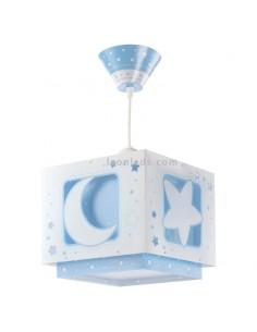 Lampara Infantil Juvenil de Techo Colgante Azul Estrella Luna 63232T | LeonLeds Iluminación