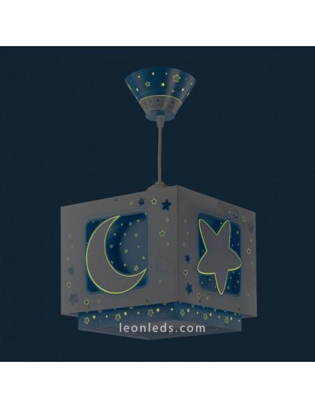 Lampara Infantil Azul de techo con Estrella Lunas MoonLight 63232T | LeonLeds Iluminación