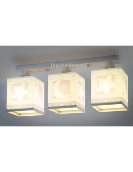 Lámpara Infantil de Techo Dalber 3 luces Gris Estrellas y lunas Moon Light 63233E | LeonLeds Iluminación