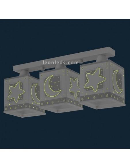 Lámpara Infantil de Techo Gris de Dalber con 3 luces Estrellas y lunas Moon Light 63233E | LeonLeds Iluminación