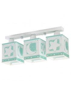 Lámpara infantil Verde y Blanca con 3 pantallas cuadradas serie Moon Light 63233H | LeonLeds Iluminación