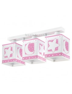 Lámpara infantil Rosa con 3 pantallas cuadradas serie Moon Light 63233S | LeonLeds Iluminación