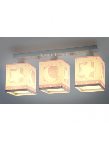 Lámpara infantil Rosa con 3 pantallas cuadradas serie Moon Light 63233S   LeonLeds Iluminación