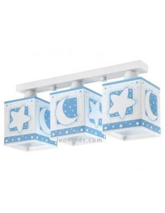 Lámpara de Techo Infantil Azul Serie Moon Light Dabler 3 Luces Lunas y Estrellas 63233T | LeonLeds Iluminación