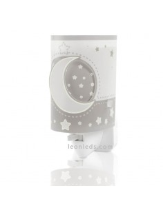 Quitamiedos LED para enchufe gris de la serie Moon Light de Dabler | LeonLeds Iluminación Infantil
