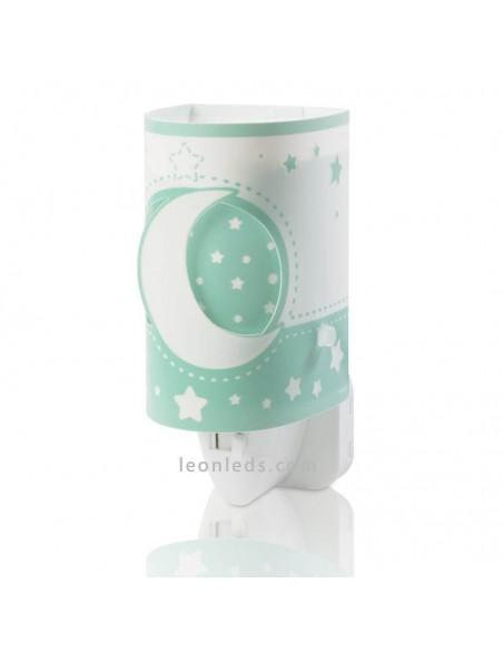 Quitamiedos LED infantil verde Moon Light con estrellas y lunas de Dalber | LeonLeds Iluminación Infantil